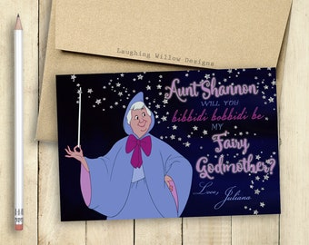 Godmother Card Fairy Godmother Card Will You be my Godmother Card PRINTABLE Bibbidi Bobbidi Be My Fairy Godmother