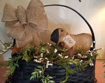 Country basket, country decor,  sheep,