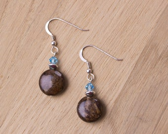 Bronzite earrings - gemstone and blue Swarovski bead sterling silver earrings | Bronzite jewellery | Brown jewelry | Bead dangle earrings