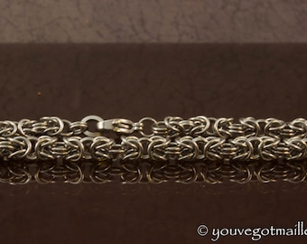 Delicate Steel Byzantine Chainmaille Bracelet