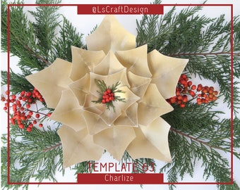 PDF Paper Flower Template, Paper Flowers Templates, Giant Paper Flower, Christmas Decor, Paper Poinsettia Flower, Christmas flower Backdrop