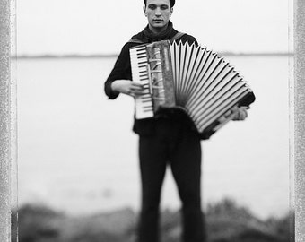 Accordion Player, Musician, Fine Art Photography, Portrait, Black And White, Home, Office, Limited Edition, Collectible, Polaroid, Type 55