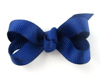Baby Hair Bow in Royal Blue - Extra Small Boutique Bow On Mini Snap Clip for Fine Hair Newborn to Toddler - Non Slip Barrette mm
