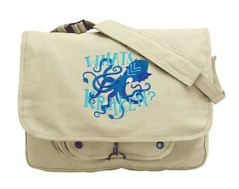 Octopus Messenger Bag, Kraken Messenger Bag, What's Kraken? Embroidered Canvas Messenger Bag Style 1