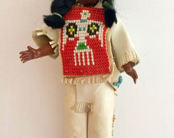 Indian Doll by Carlson of Maple Lake, MN - Vintage Native-American Collectible Souvenir Doll with Leather and Beadwork