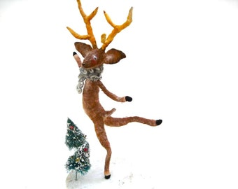 Dancing Buck, Woodland, Deer, Ooak Spun Cotton, Winter, Christmas, Art, Decoration, Gift, Box