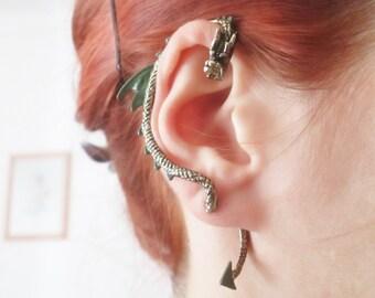 Dark green Punk Dragon Ear Cuff Earring