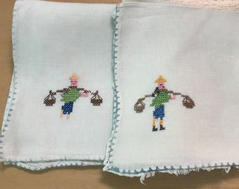 Vintage lot of embroidered finger tip towels