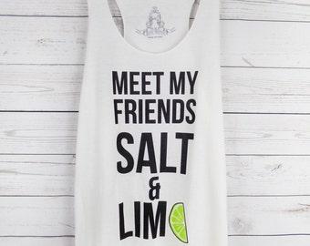 Meet My Friends Salt & Lime Tank Top Ivory - Women's Graphic Print Tank Top - S, M, L