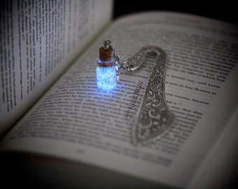 Bookmark Glow in the Dark and Glitter Bottle on Metal Silver Tone Glow in the Dark Fairydust  Bookmark Luminous Bookmark Fantasy Gift