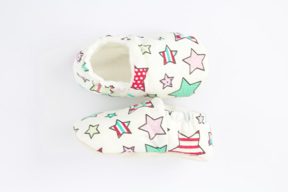 Soft sole slip on baby girl shoes with colourful star print cotton