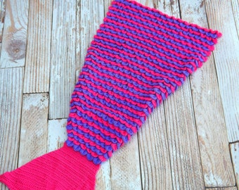 Mermaid Tail Blanket - Child Sized Pink and Purple Lap Blanket - Mermaid Lapghan - Novelty Blanket - Fish Tail Blanket - Snuggle Blanket