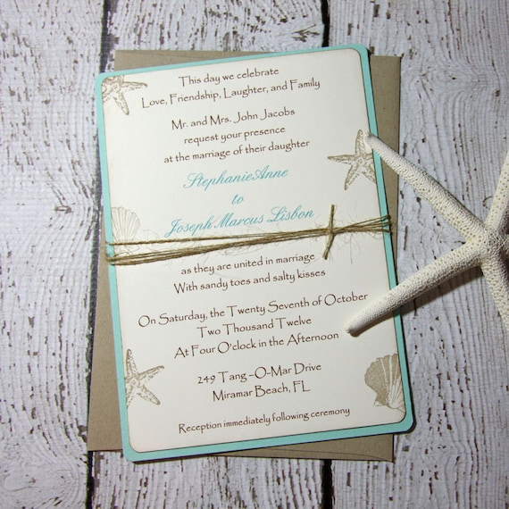 For Beach Wedding Invitation Sample: SAMPLE Aqua Beach Wedding Invitations/Wedding