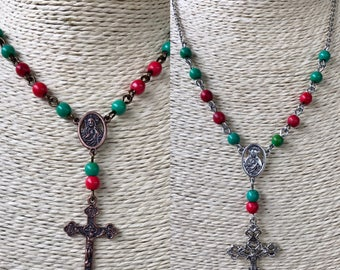 Handmade to order - rosary style necklace in choice of silver or copper findings with red and green rustic beads.