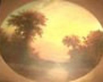 Original Oil Painting William Storck, Landscape, Trees, River, Sunset