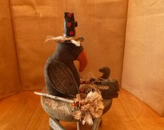 PRIMITIVE CROW WITCH-Halloween-grungy-Crow Witch Doll-shelf sitter