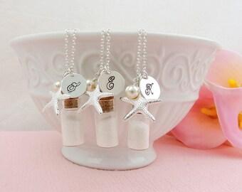 FREE US Shipping Set Of 3 Sand Bottle Charm Necklace, 3 Personalized Sand Bottle Bridesmaid Necklaces, Beach Themed Bridesmaid Necklaces