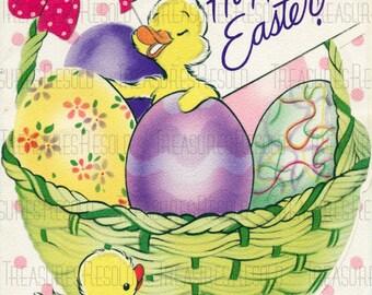 Retro Chicks In An Egg Filled Easter Basket Happy Easter Card #675 Digital Download