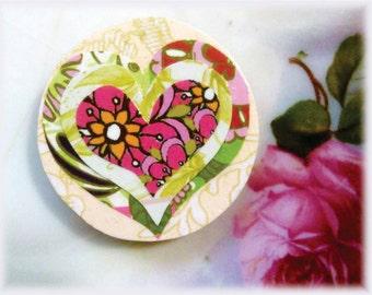 Magnet, Paper, Art, Flower, Pattern, Heart, Love, Collage, Decoupage, Modern, Graphic, Illustration, Pink, Red, Green, Orange, White, Black
