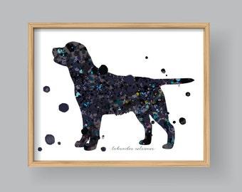 Black Labrador Retriever wall art, Printable Labrador Retriever Watercolor Home decor Wall art Kids nursery #417