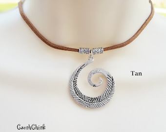 Gift for her Tan Leather Choker Silver Boho Necklace Girlfriend Gift Spiral Necklace Statement Necklace Suede Choker Sister Gift