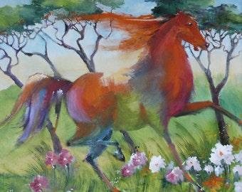 """Orange Horse Prancing in Flowers   - Original Oil Painting (20"""" x 16"""")"""