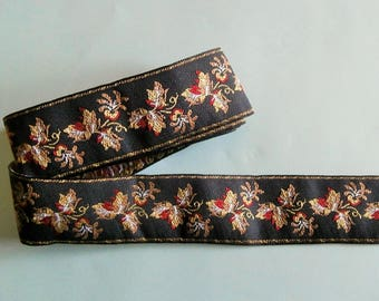 G10 stripe - Black woven Ribbon, red and yellow floral pattern