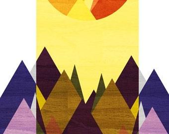 Morning, Mountain Art Print (Purple Mountain, Golden Sun, Geometric Illustration), 5x7, 8x10, 11x14