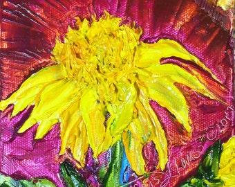 Double Sunflowers 5x5 Original Impasto Oil Painting by Paris Wyatt Llanso