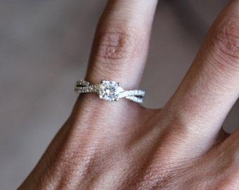 Diamond Twist Engagement Ring (1/2 carat center) Diamond Engagement Ring 14k White Gold, 18k or Platinum - Engagement Rings For Women