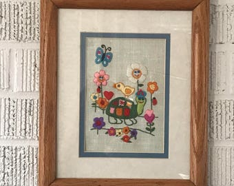 """Vintage Crewel Embroidered Needlepoint Turtle Flowers Framed 11.5"""" by 9.5"""""""