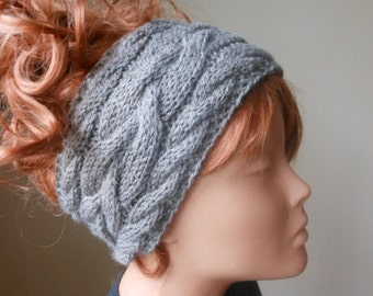 Cable Hand Knit Headband  Ear Warmer Head Warmer Beige/Brown