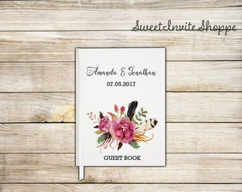 Floral Wedding Guest Book, Custom Wedding Guest Book, Guestbook, Bridal Shower Guest Book, Gift For Couples, Rustic Guest Book, Boho Book