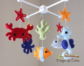 "Baby Crib Mobile - Baby Mobile - Nursery Crib Mobile - Ocean Mobile ""Under the Sea Creatures"" (You can Pick your colors)"