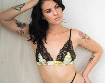 Seraph Triangle Bralette in Vintage Harvest Floral Print / Lace Bra, Custom Bralette, Eco Friendly Lingerie, Upcycled Fabric, Triangle Bra