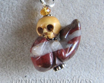 Jasper Playful Kitty Cat Skull Charm Zipper Pull Pendant from Cornerstoregoddess