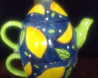 Bright Blue & Green w/ Yellow Lemons 3 Piece Teapot - Bella Casa by Ganz