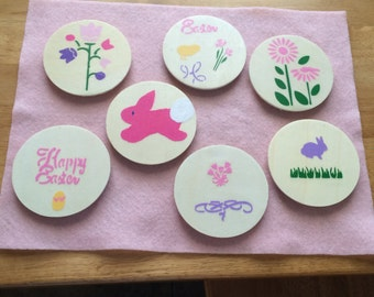 Easter Magnets, Refrigerator Magnets, wood and stenciled, Easter Decoration
