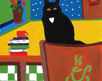 Black Cat with a heart.  Book Art. Coffee Cup Art.  Colorful Cat painting.   Cat Folk Art.