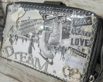 ICE SKATING WALLET Collage Handmade Figure Skating Gift Great for Coaches