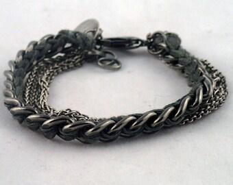 """Chain Gang Multichain Bracelet - 6 1/2"""" handwoven thread & multi chain bracelet. handmade to order in NYC."""