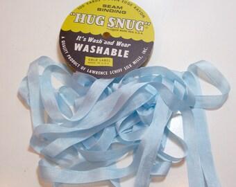 Light Blue Seam Binding, Hug Snug Seam Binding 1/2 inch wide x 10 yards, Limoges Blue Ribbon
