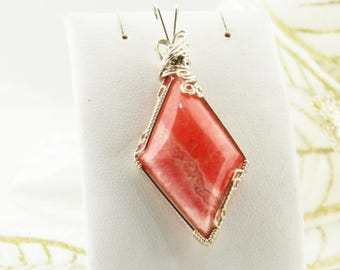 Rhodochrosite Wire Wrapped Pendant - Rhodochrosite Wire Wrapped Necklace - Wire Wrapped Pendant - Rhodochrosite Pendant #305