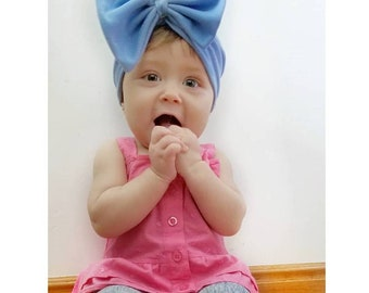 Periwinkle Blue, baby turban, toddler turban, baby hair bow