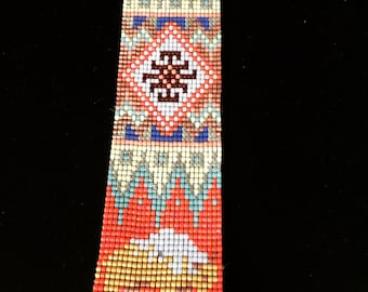 Wide cuff with miyuki beads - American Bison with ethnic Indian style magnetic clasp multicolored