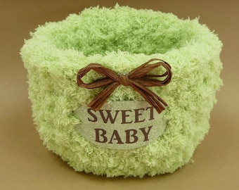 SWEET BABY BASKET Green Brown Cute Baby Shower Gift Basket Nursery Decor Boy Girl Soft Round Lime Green Chocolate Brown