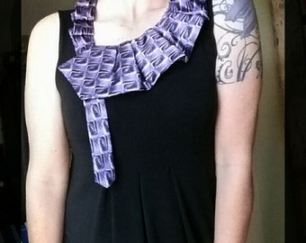 Purple necktie scarf, ruffle necktie necklace, women's necktie necklace, ascot scarflette, upcycled jewelry, necktie scarf, tie necklace