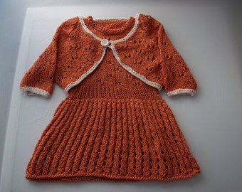 Handknitted Girls Dress and Bolero in Bamboo 9-12 month old size.