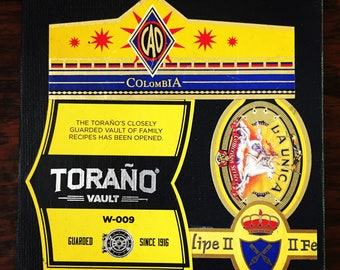 2018 Cigar Band Collage Coaster: Toraño Yellow