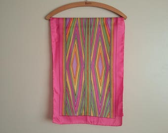 """Vintage 60s-70s Long Pink & Pastel Diamonds Scarf. Psychedelic. Pink. Lilac. Yellow, Green. Orange. Black. 44"""" x 15"""". Hand Rolled. Acetate."""
